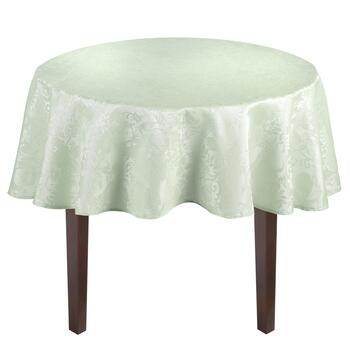 Solid Floral Damask Easy-Care Tablecloth view 2