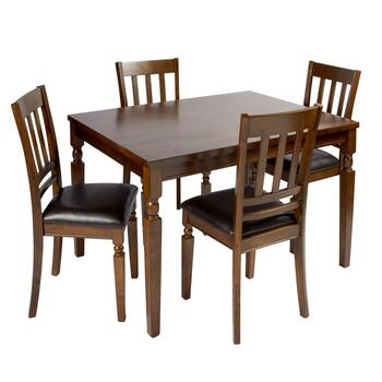 Walnut Turned Leg Table & Chairs Dining Set, 5-Piece