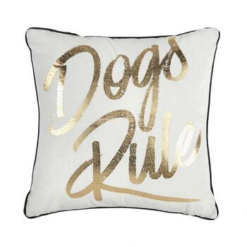 """Dogs Rule"" Square Throw Pillow"