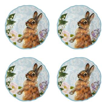 Easter Bunny Melamine Salad Plates, Set of 4
