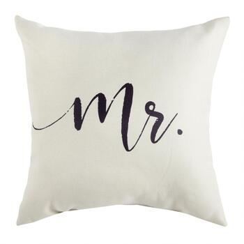 "The Grainhouse™ ""Mr."" Script Square Throw Pillow"