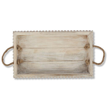 "Petal and Stone™ 14"" Beaded Rope Handle Tray view 1"