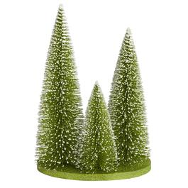 12 triple brush snowy evergreen tree display - Christmas Log Candle Holder Decorations