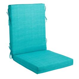Solid Turquoise Indoor/Outdoor Hinged Chair Pad