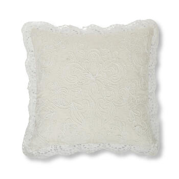 "Petal and Stone™ 20"" Damask Crochet Tan Throw Pillow view 1"