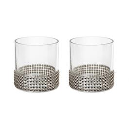 "4"" Rhinestone-Studded Round Glass Vases, Set of 2"