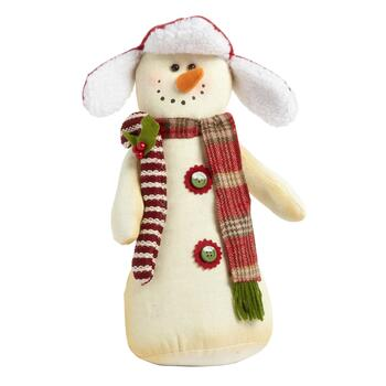 "13"" Candy Cane Tabletop Snowmen, Set of 2"