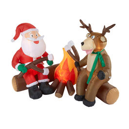 Airblown® 6' Santa and Reindeer Campfire Inflatable view 1