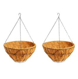 "16"" Black Scroll Hanging Coco Planters, Set of 2"