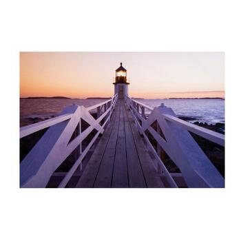 "24""x36"" Sunset Lighthouse Lacquer Canvas Wall Art"