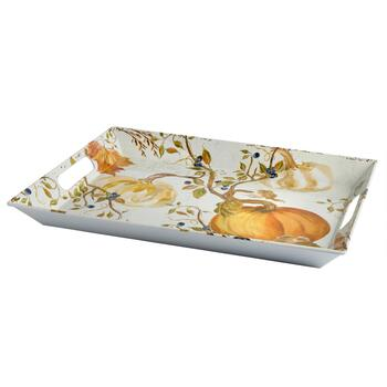 Harvest Pumpkin Melamine Serving Tray with Handles view 2