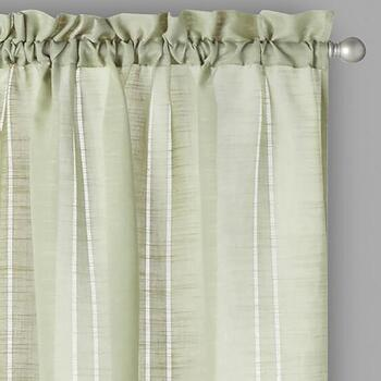 Perfect Window Green Hemstitch Window Curtains, Set of 2
