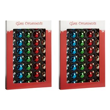 40-Count Colorful Shiny Glass Ornaments, Set of 2