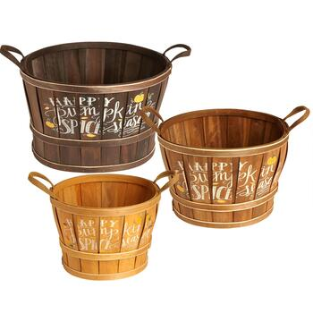 """Happy Pumpkin Spice Season"" Printed Bushel Basket"