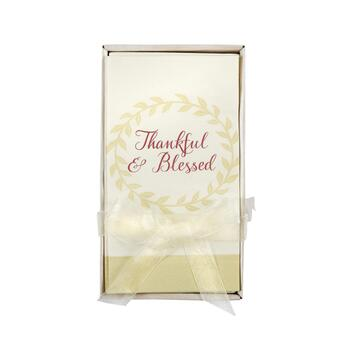 """Thankful & Blessed"" Paper Napkins with Caddy, Set of 2"