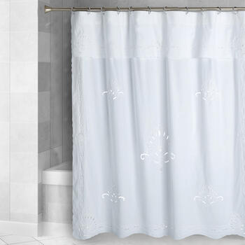 White Embroidered Cutwork Fabric Shower Curtain