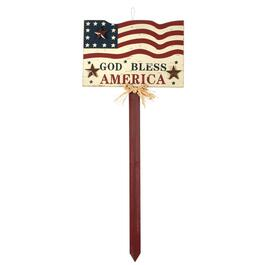 "35"" American Flag ""God Bless"" Wooden Yard Stake"