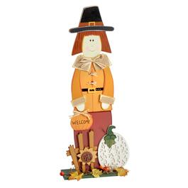 "24.25"" Wood ""Welcome"" Pumpkin Pilgrim Table Sitter"