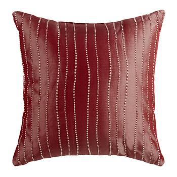 Solid Red Jacquard Embellished Square Throw Pillow