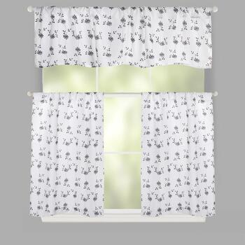 Black/White Flowers Rod Pocket Window Tier & Valance Set