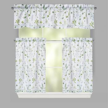 Green Nature Window Tier & Valance Set