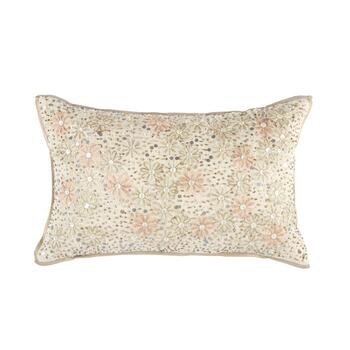 Gold/Pink Embellished Floral Oblong Throw Pillow
