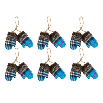 Plaid Mitten Pair Rope Hangers with Faux Fur Cuffs, Set of 6 view 1