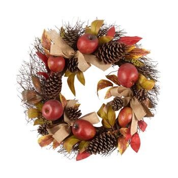 "22"" Red Apples, Pinecones and Burlap Bows Artificial Twig Wreath"