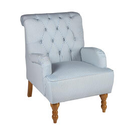 Blue/White Stripe Tufted-Back Arm Chair view 1