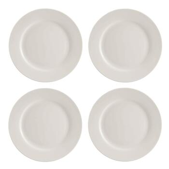 White Bone China Round Salad Plates, Set of 4