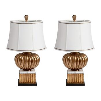 "30.75"" Carved Round Table Lamp, Set of 2"