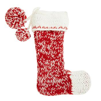 "19"" Red/White Hand-Knit Christmas Stocking"
