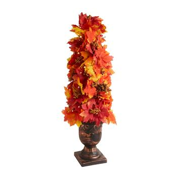 "35"" LED Leaf Topiary Urn"