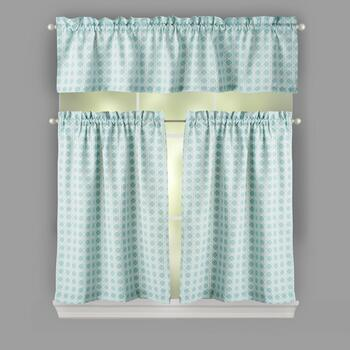 Traditions by Waverly® Green Crisscross Window Tier & Valance Set