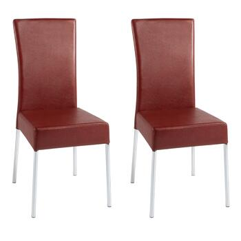 Red Faux Leather Dining Chairs, Set of 2