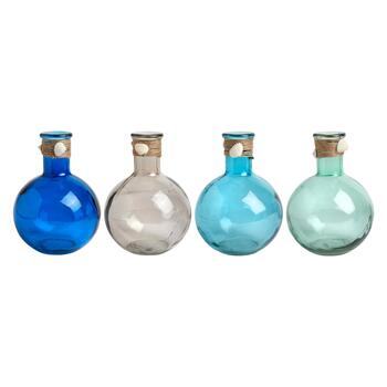 Coastal Shell Multicolored Chubby Bottles, Set of 4