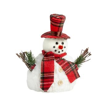 "10"" Glittered Faux Fur Standing Winter Snowman"