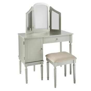 Silver Vanity Set with Power Outlet and Stool view 2