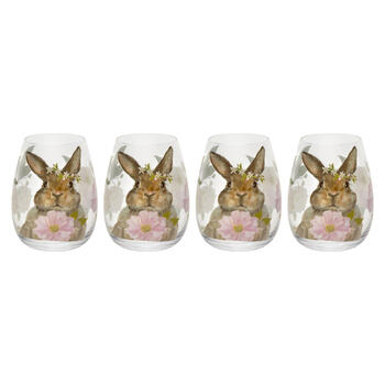 Pink Floral Bunny Stemless Wine Glasses, Set of 4 view 1
