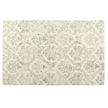 Gray Damask Wool Area Rug