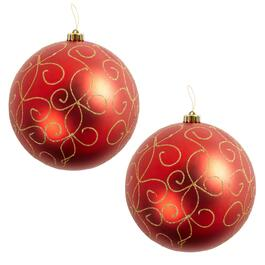 "9"" Red Glitter Scroll Ornaments, Set of 2"