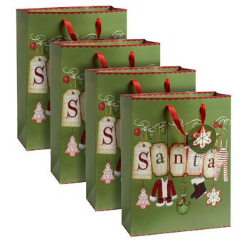 """Santa"" Large Gift Bags, Set of 4"