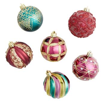 Burgundy/Green 70MM Shatterproof Ornaments, Set of 12 view 2