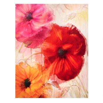 "22""x28"" Red/Orange Flowers Canvas Wall Art"