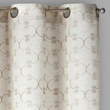 Regal Crest Embroidered Faux Linen Window Curtains, Set of 2