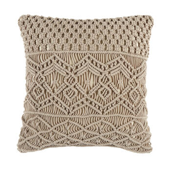 The Grainhouse™ Geo Macrame Square Throw Pillow view 1