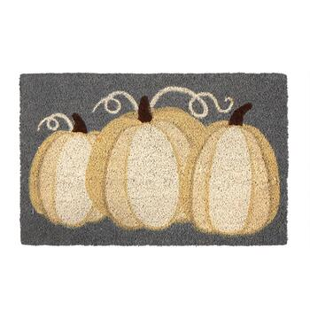 "18""x28"" White Pumpkin Trio Coir Door Mat"