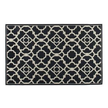 "Waverly® 4'4""x6'11"" Black/White Geometric Indoor/Outdoor Area Rug"
