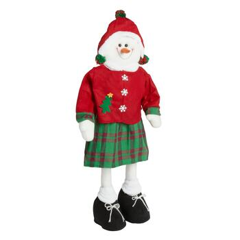 "30"" Green/Red Plaid Standing Snowwoman"