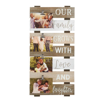 "The Grainhouse™ 12""x24"" ""Love and Laughter"" Photo Clip Plank Wall Decor view 1"